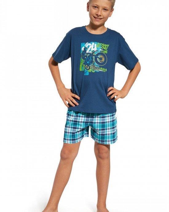 """Пижама (шорты + футболка) синего цвета с принтом """"Motocross"""""""