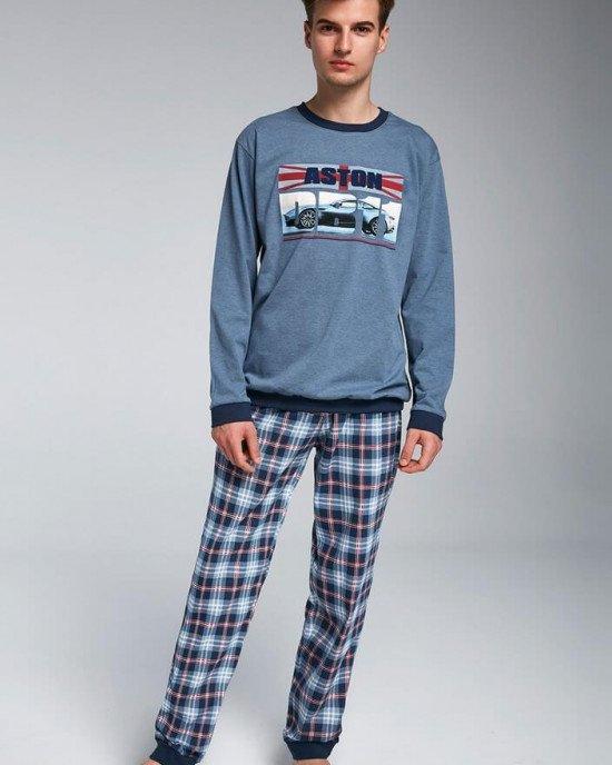 """Пижама (реглан + брюки) """"Aston"""" синего цвета с принтом авто"""
