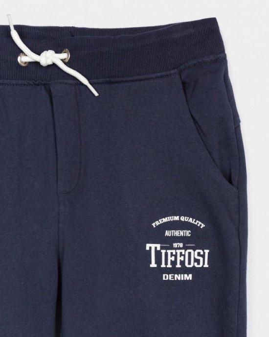 Штаны спортивные синего цвета с белым логотипом