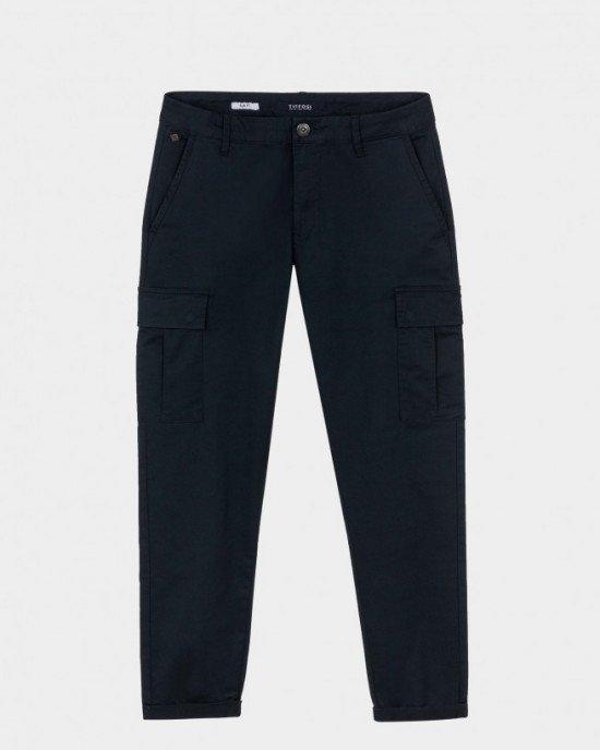 Брюки Slim Fit с накладными карманами (карго) синего цвета