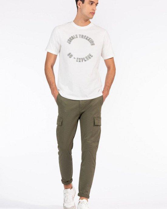 Брюки Slim Fit с накладными карманами (карго) оливкового цвета