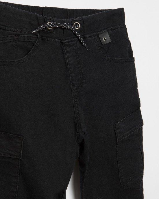 Брюки JOGGER черного цвета c карманами и резинкой внизу