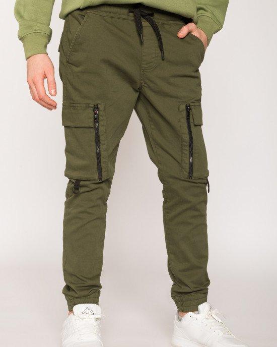 Брюки джоггеры (JOGGER) оливкового цвета с накладными карманами