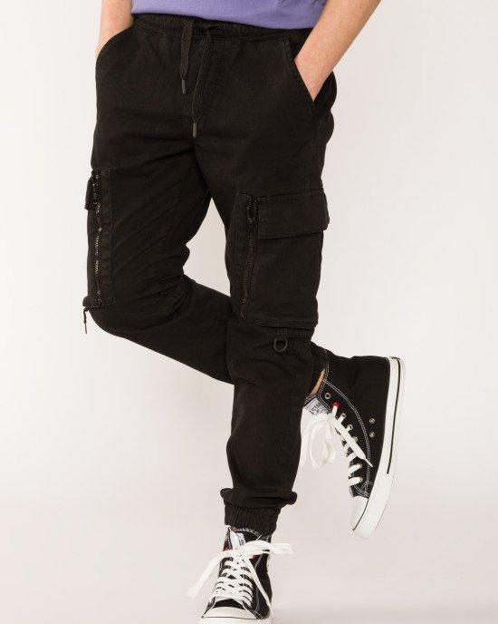 Брюки джоггеры (JOGGER) черного цвета с накладными карманами