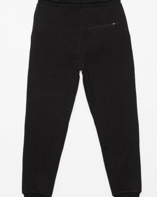 Штаны спортивные черного цвета с черным принтом