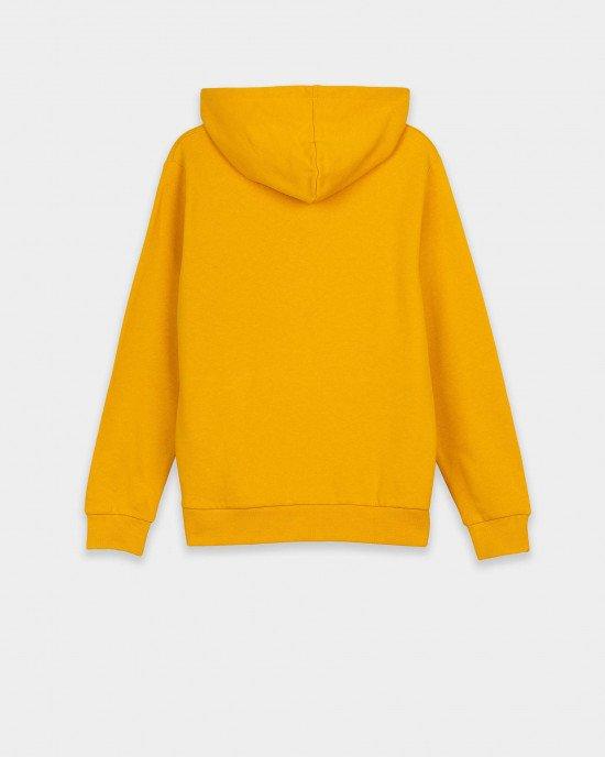 Худи с утеплением желтого цвета с карманом и застежкой - молнией