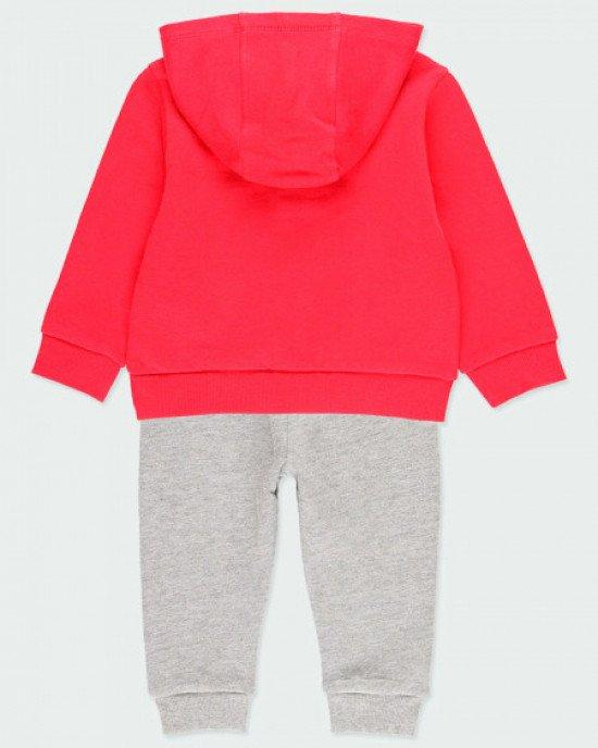 Костюм (худи + штаны) утепленный красно - серого цвета