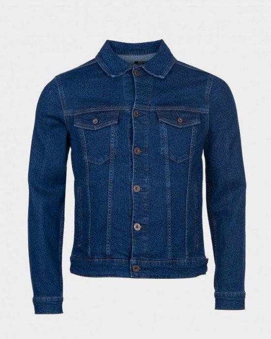 Куртка джинсовая темно - синего цвета на пуговицах