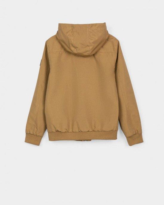 Куртка - ветровка горчичного цвета с капюшоном