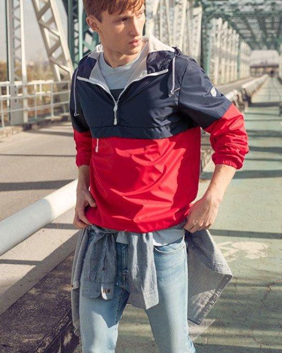 Ветровка - Анорак с сетчатой подкладкой и карманом спереди