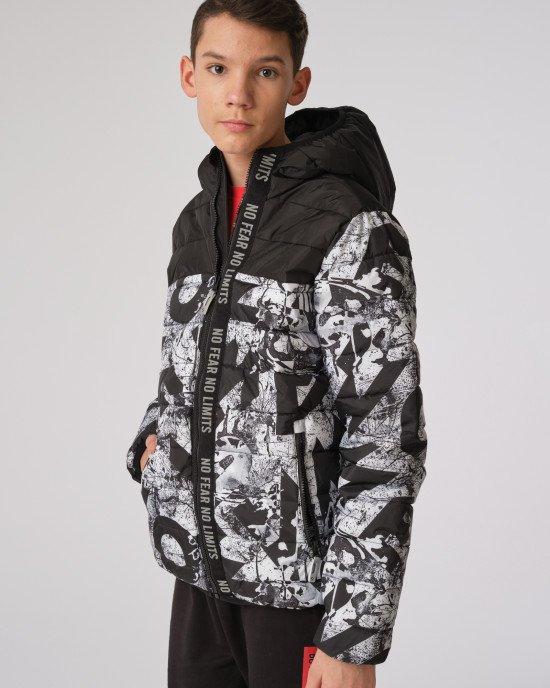 Куртка демисезонная в черно - белый принт
