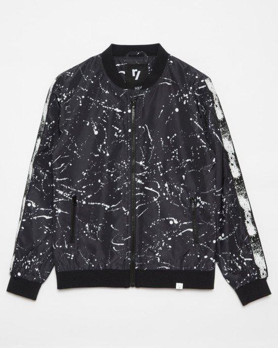 Куртка - бомбер черного цвета в белый принт