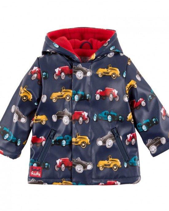 Куртка - дождевик синего цвета с рисунком автомобилей и флисовой подкладкой внутри