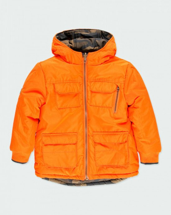 Куртка двусторонняя камуфляжной и оранжевой расцветки