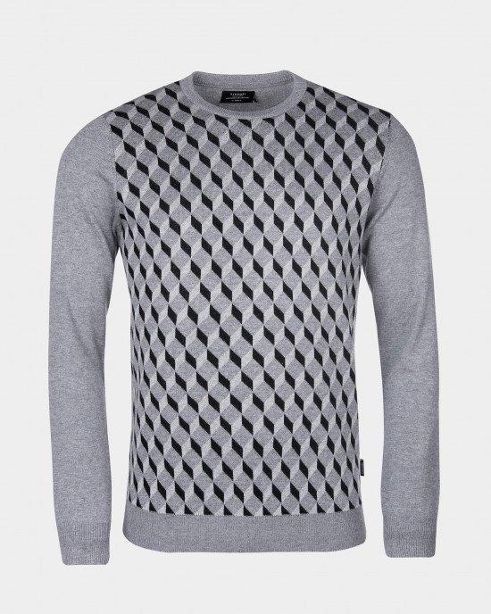 Джемпер с графическим узором серого цвета