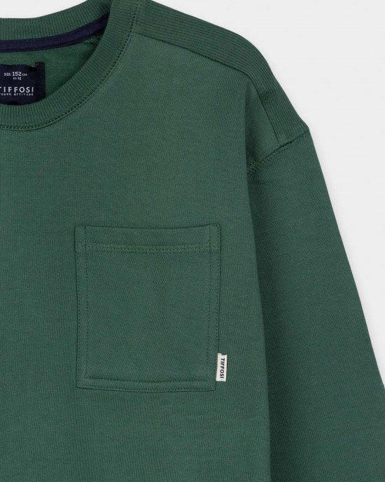 Свитшот зеленого цвета с карманом