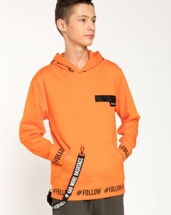 Худи с утеплением оранжевого цвета с декором