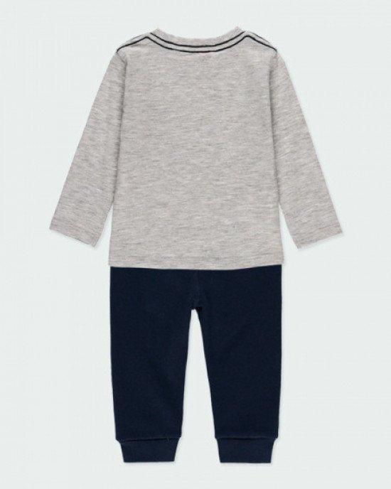 Комплект (штаны + лонгслив) серо - синего цвета с принтом NYC