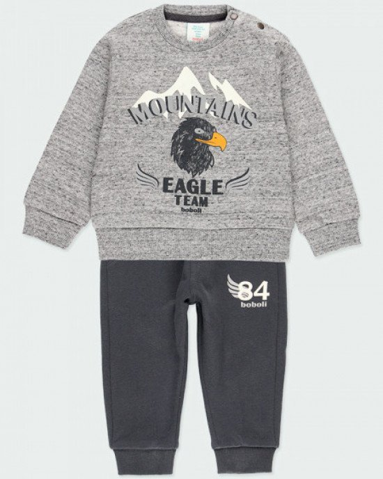 """Костюм утепленный серого цвета с принтом """"Eagle"""""""