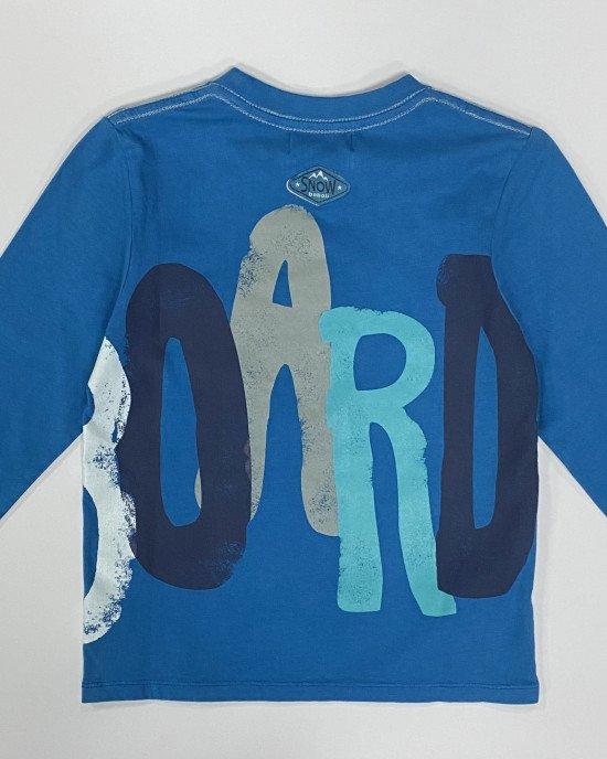 Реглан синего цвета с рисунком и карманами спереди