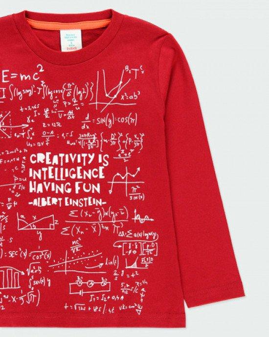 """Лонгслив бордового цвета с белым, """"математическим"""" принтом"""