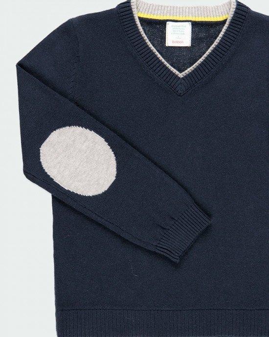 Джемпер синего цвета с серыми вставками