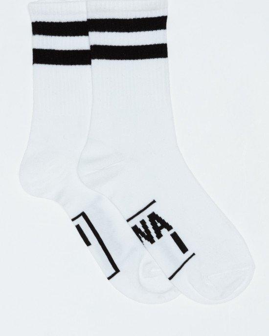 Носки высокие бело-черные
