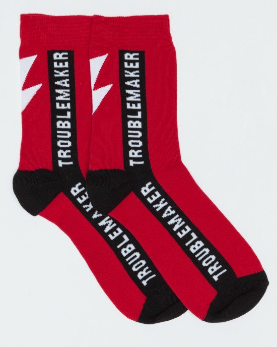 Носки высокие красно-черные