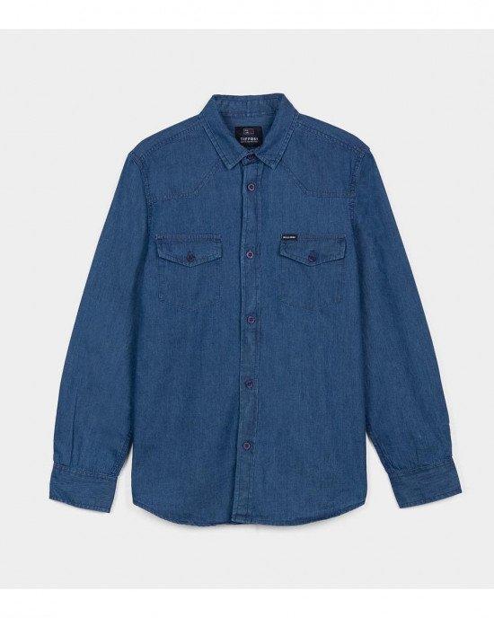 Рубашка цвета деним с карманами