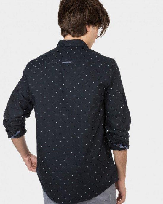Рубашка Regular Fit черного цвета в мелкий принт