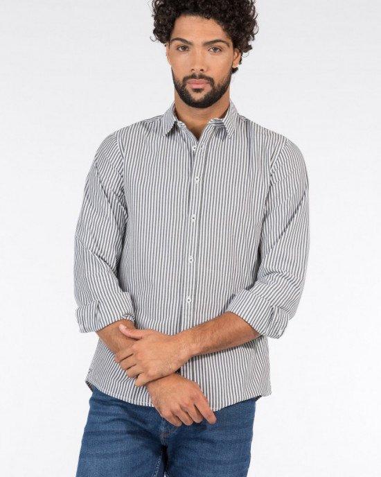 Рубашка Regular Fit в бело-серую полоску для мужчин