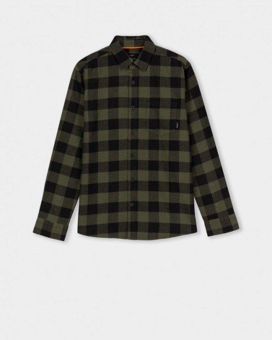 Рубашка с длинными рукавами в черно - зеленую клетку