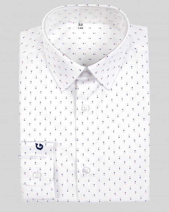Рубашка белая в мелкий принт