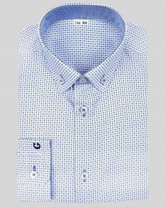 Рубашка в синий принт