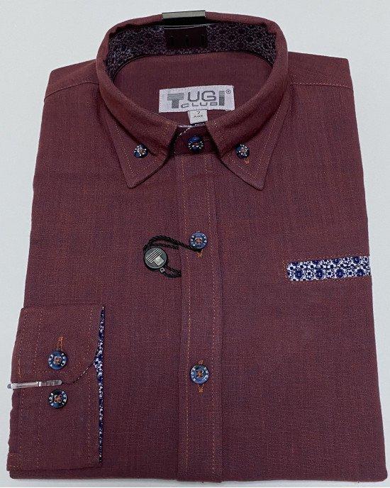 Рубашка бордового цвета с длинным рукавом