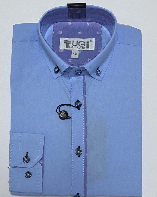Рубашка голубого цвета с длинным рукавом