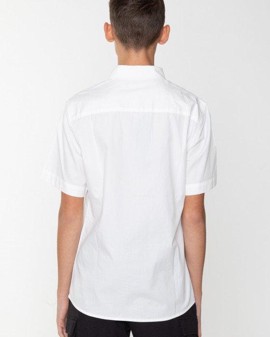 Рубашка с коротким рукавом и черно-белой вставкой