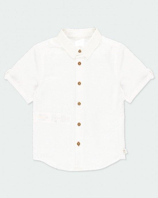 Рубашка из хлопка и льна с короткими рукавами