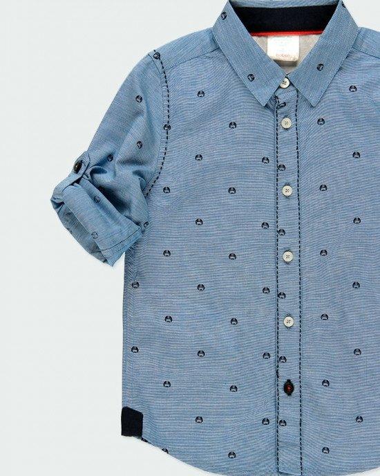 "Рубашка голубого цвета с мелким принтом ""шлемы"""