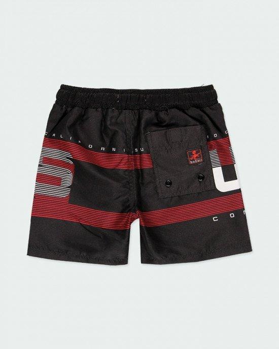 Шорты для купания (пляжные) черного цвета в красно - белый принт