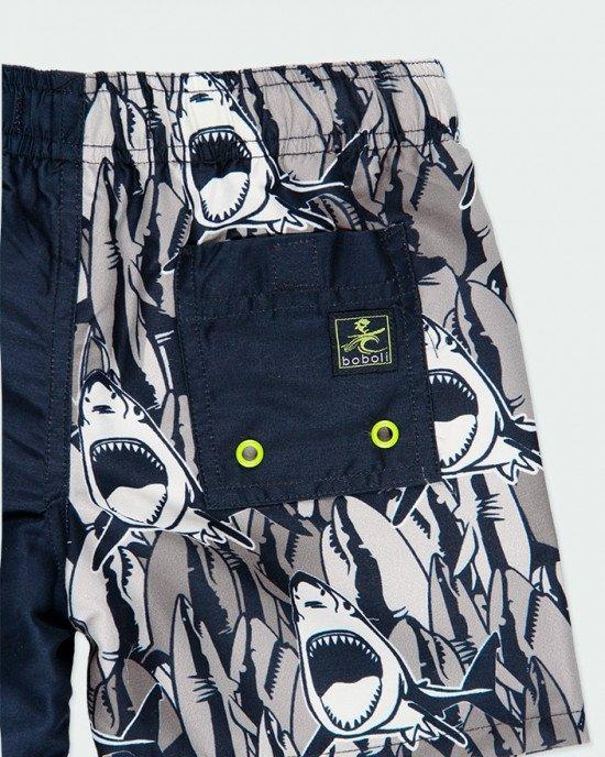 """Шорты для купания (пляжные) сине - серого цвета с принтом """"акулы"""""""