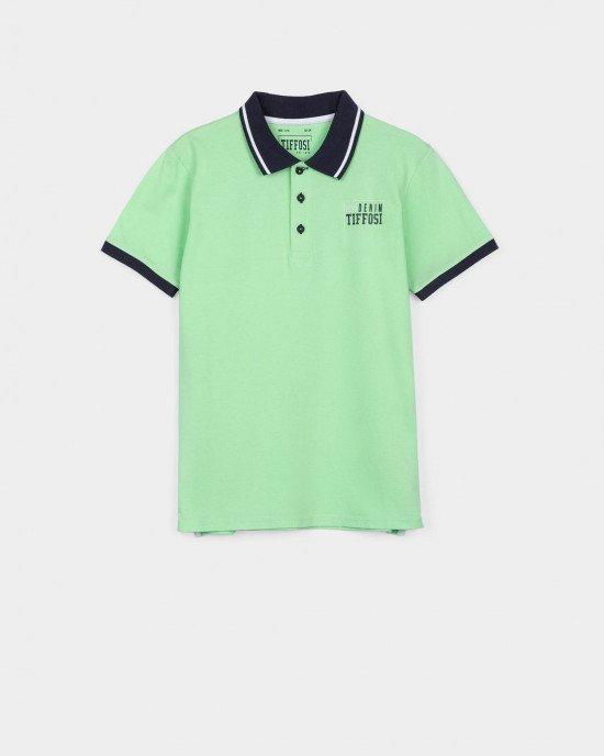 Футболка - поло ярко - зеленого цвета с логотипом
