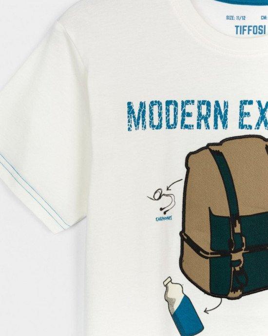 """Футболка кремового цвета с текстильным принтом """"рюкзак"""""""