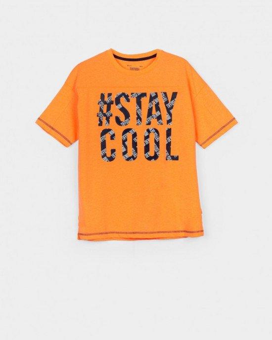 Футболка оранжевого цвета с принтом STAY COOL