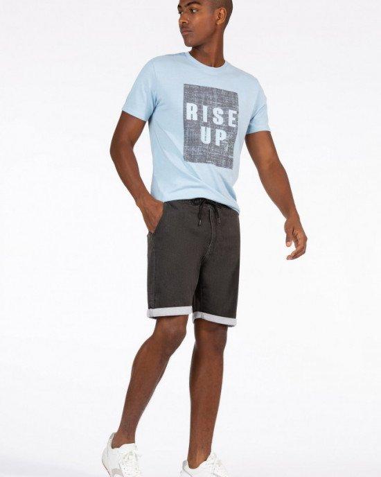 """Футболка голубого цвета с серым принтом и надписью """"Rise Up"""""""