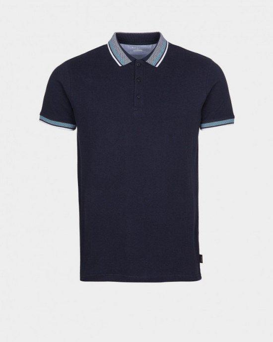 Футболка - поло темно - синего цвета с серыми манжетами и воротником