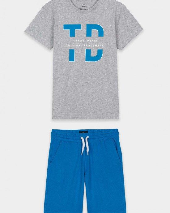 Комплект (шорты + футболка) серо - голубого цвета