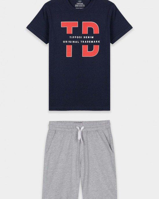 Комплект (футболка + шорты) сине - серого цвета с логотипом