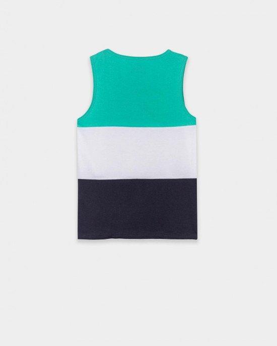 Комплект (майка + шорты) трехцветный с серыми шортами