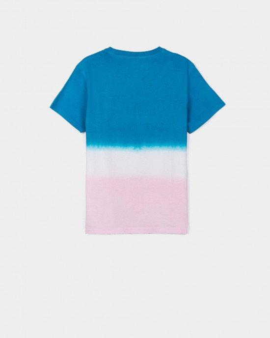 Футболка розово - голубого цвета с вышивкой